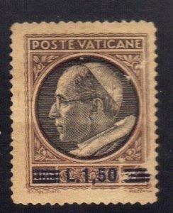 VATICAN CITY SC# 105 MH 1.5L on 1L 1946 OVERPRINT SEE SCAN
