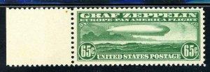 USAstamps Unused VF US Airmail Plate # Graf Zeppelin Scott C13 OG MNH Cat $300