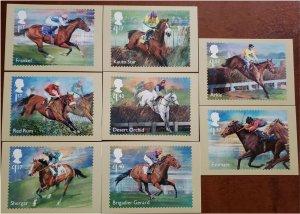 HERRICKSTAMP GREAT BRITAIN Sc.# 3598-3605 Racehorse Legends 2017 PHQ Cards