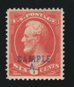 US 208SL 6c Lincoln Sample A Specimen XF OG H SCV $75