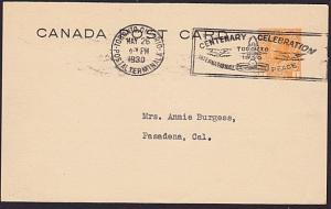 CANADA 1930 postcard International Peace Centenary slogan cancel............7670