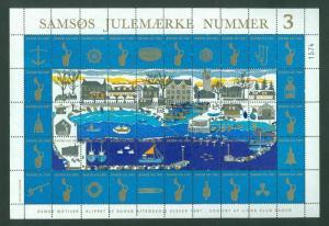 Denmark. Christmas Sheet Local Samso  # 3  Lions Club 1981. Fishing Boats. CV=$