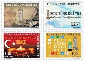 Turkey 2017 MNH Stamps Turkish Language Year Alphabet Flags