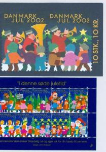 Denmark. Booklet  2002.  10 Christmas Seals Mnh. Santa. Children.