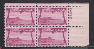 United States, C46, Hawaii Plate Block of 4 P#:24592 UR,**MNH** (LibS2)