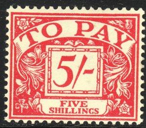 1955-57 Great Britain 5/ postage due issue MNH Wmk 308 Sc# J54 CV $75.00