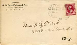 U.S. Small 2 Cent Bank Note on R. S. Goodfellow & Co (Target Predecessor) Cover