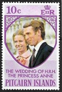 Pitcairn Islands 10c Princess Anne Wedding issue of 1973, Scott 135 MH