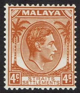 STRAITS SETTLEMENTS 1937 KGVI 4C DIE II