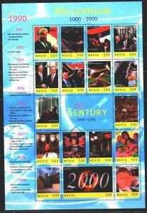 Nevis. 2000. Small sheet 1475-91. Millennium, Clinton, Princess Diana, Rossic...