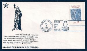 UNITED STATES FDC 22¢ Statue of Liberty 1986 Cacheted