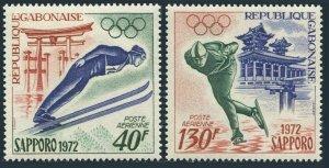 Gabon C121-C122,C122a,MNH.Michel 454-455, Bl.23. Olympics Sapporo-1972.Ski jump,