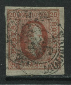 Romania 1865 20 pa red Type 1 used with 2 CDS's