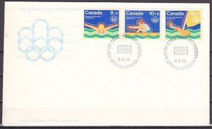 Canada, Scott cat. B4-B6. Montreal Olympics issue. First day cover. ^