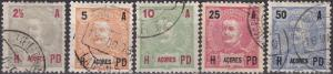 Azores #101-3, 105-6  F-VF Used CV $6.35 (A19280)