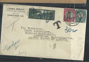 SOUTH AFRICA COVER (PP0811B) 1947 COVER   1/2D+1D  TO US  SHORT PAID TAXED 30C