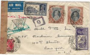 India, 1940 WWII Censored Airmail Cover, Calcutta to New York, 9 Postal Markings