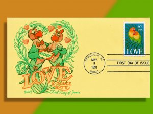 Parrots in Love!  1991 52¢ Love FDC - Polly Want a Cracker??