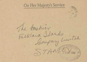 Falkland Islands Official Free Mail 1983 Port Stanley, Falkland Islands Local...
