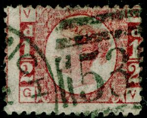 SG48, ½d rose-red PLATE 6, USED. Cat £25. GV