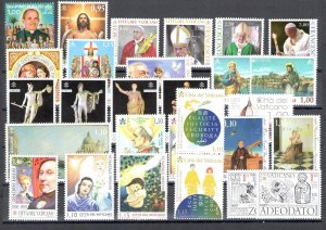 2018 Vatican, Year Complete 28 Val +4 Bf +1 Booklet Santo Natale, Nu