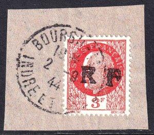 FRANCE 445 BOURGUEIL LIBERATION OVERPRINT CDS VF ON PIECE