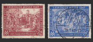 Germany 1947 Allied Occupation, Sc B296-97 Leipzig Fair UVF