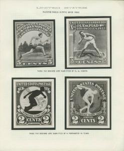 #718-E, 719E 1932 OLYMPICS 4 DIFF B.E.P. PHOTO ESSAYS ON EXHIBIT PAGE WLM8124