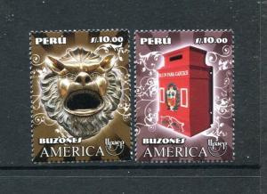 Peru 1803-1804, MNH, America UPAEP Mailboxes Postal Service Art 2011. x29654