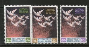 Bangladesh 1972 Victory Day Doves of Peace Birds Sc 36-38 MNH # 2412