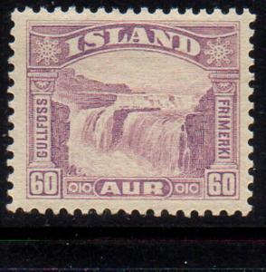 Iceland  1931 60 aur red lilacGolden Falls stamp mint