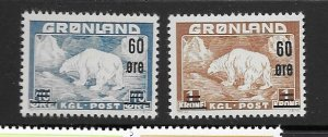 Greenland 39-40 MNH cpl. set, vf 2020 CV $76.00