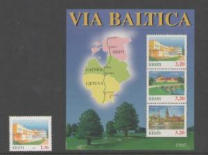Estonia Sc 288-9 1995 Via Baltica stamp & sheet mint NH