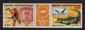 Central African Republic  #C200-201a Empire 1978 MNH Philexafrique pair + label