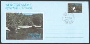 CHRISTMAS IS 1988 53c Abbot's Booby, Bird, aerogramme - cds cancel.........10912