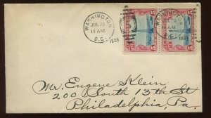 C11 Beacon HORIZONTAL LINE Pair First Day Cover Addressed to Eugene Klein