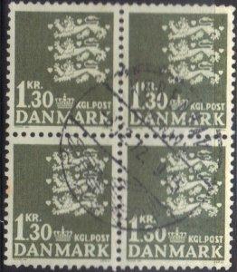DENMARK SCOTT# 398  *USED*  1.30k BLOCK OF 4  1962-65  SEE SCAN