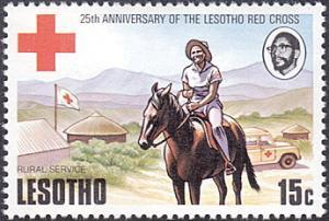 Lesotho # 197 mnh ~ 15¢ Red Cross Nurse On Horseback