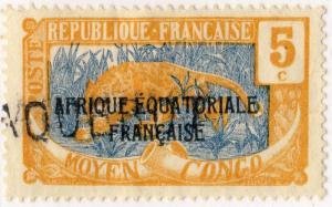 MOYEN CONGO - ca.1924 griffe PAQUEBOT sur Yv.75/Mi.28 5c Panther - TB