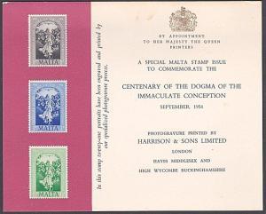 MALTA 1954 Dogma set on Harrison's presentation card.......................87688