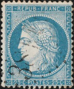 FRANCE - Yv.60A 25c bleu (type I) obl GC (indéchiffrable) - TB