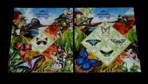 TOPICAL, BUTTERFLIES, 2013, SOLOMON ISLANDS, SET OF 2, S/S, MNH, LOT #67, LQQK
