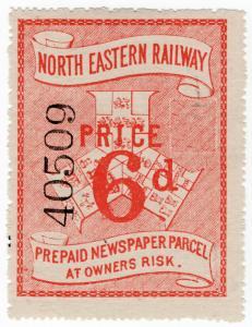 (I.B) North Eastern Railway : Prepaid Newspaper Parcel 6d