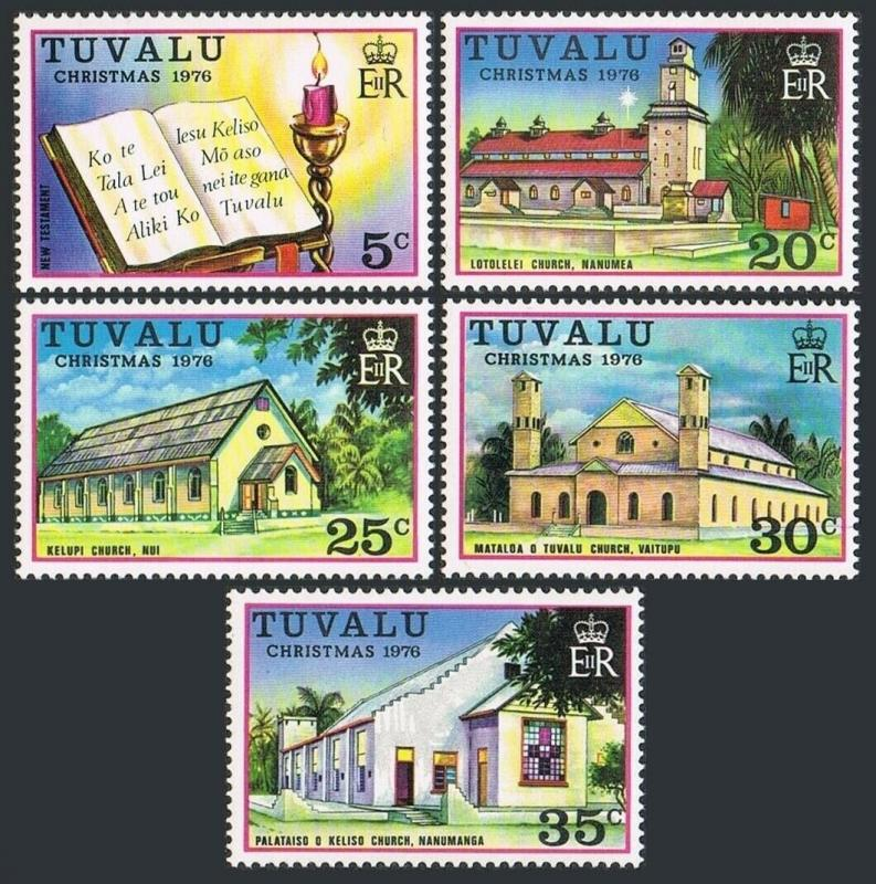 Tuvalu 38-42,MNH.Michel 38-42. Christmas 1976.New Testament,Churches.