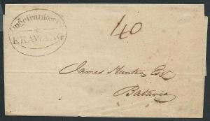 NETHERLANDS INDIES 1841 cover ONGEFRANKEERD / KRAWANG in oval..............39867