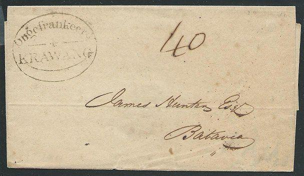 NETHERLANDS INDIES 1841 cover ONGEFRANKEERD / KRAWANG in oval..............39867