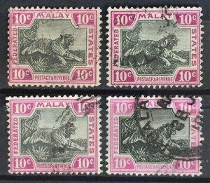 Malaya Federated Malay States FMS 1904-14 Tigers 10c Varieties&Shades SG#43+Used