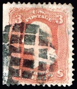 US STAMP #65 Series of 1861-62 3¢ Washington USED STAMP