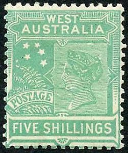 Western Australia SG148 5/- Emerald Green Wmk Crown over A (Inverted) M/M
