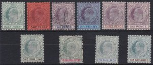 BC535) Lagos KEVII Definitives to 10/- SG 54/63 mixed mint & used set